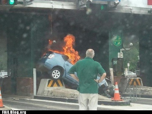 car driving fire