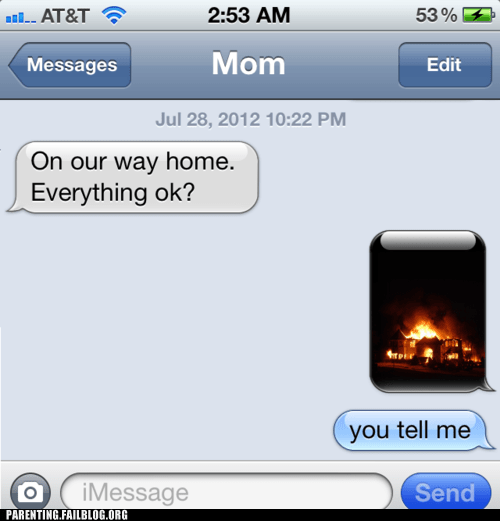 house on fire mom text