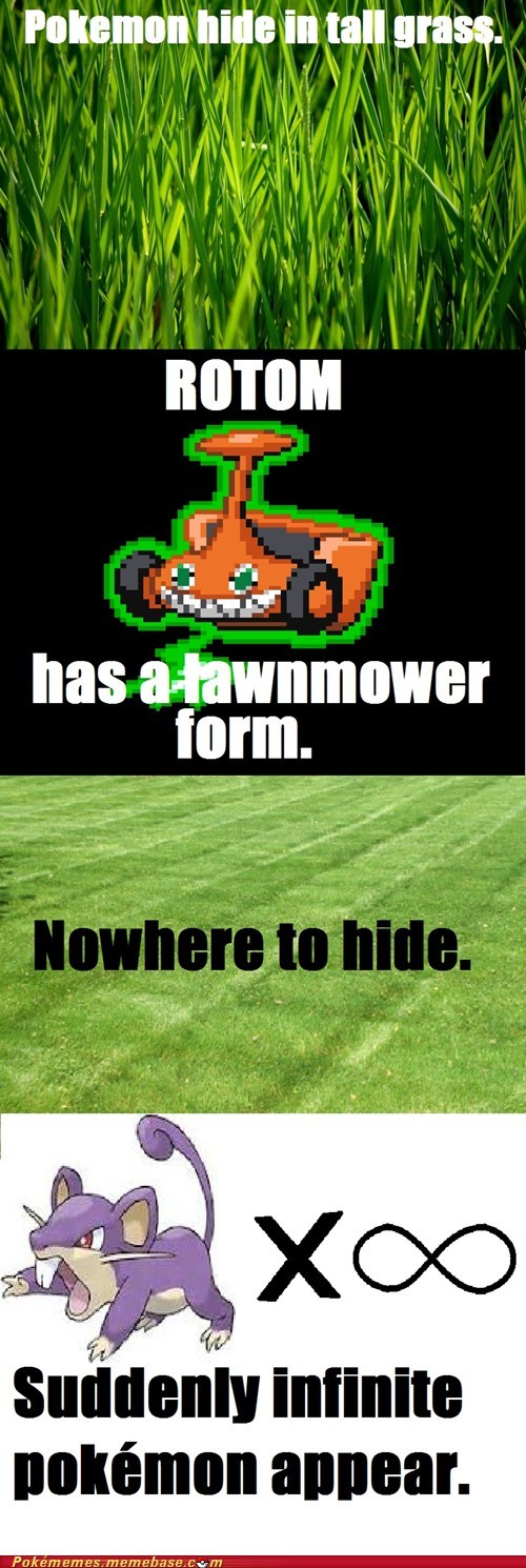 comic,infinite pokemon,lawnmower,profit,rotom,tall grass