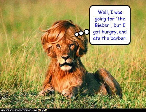 barber Bieber eating haircut hungry i ate him lion - 6472812032