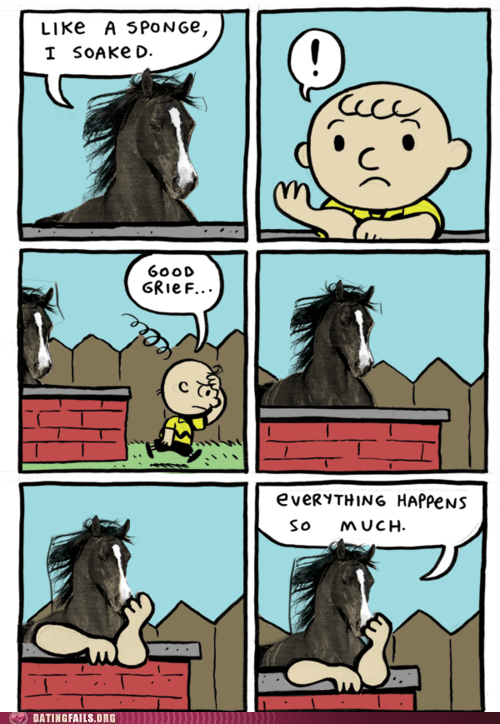 everything happens,good grief,horses,sponge,what the hell