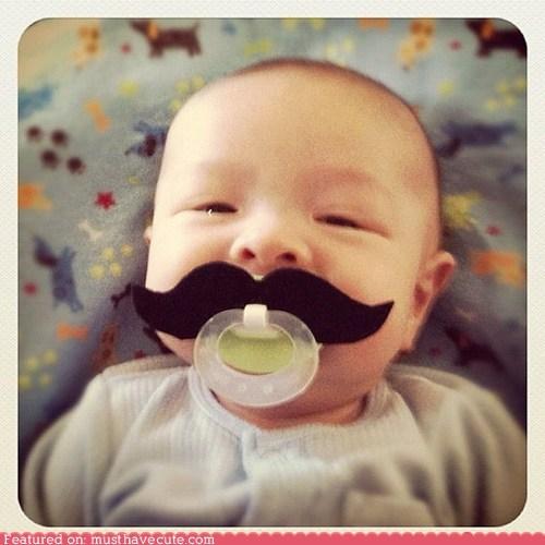 baby binky mustache pacifier - 6472899072