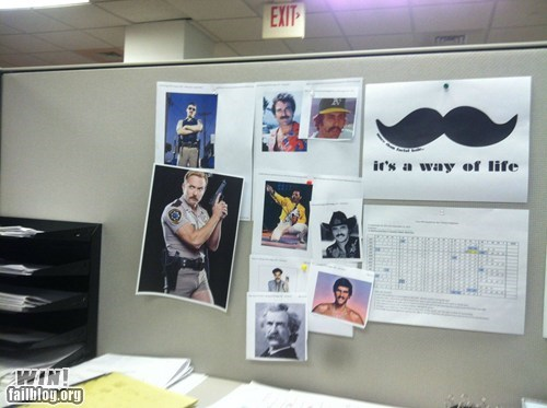 cubicle manly mustache Office prank - 6473633792