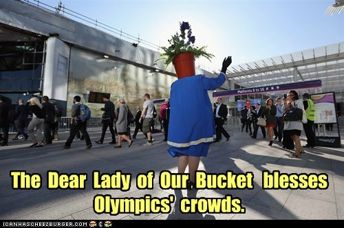 The Dear Lady of Our Bucket blesses Olympics' crowds.