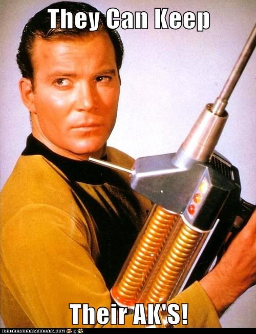 William Shatner Shatnerday Captain Kirk ak 47 keep guns phaser