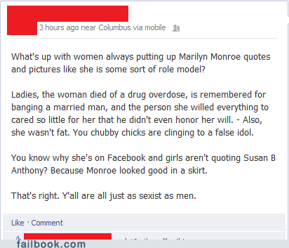failbook marilyn monroe rant sexist