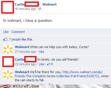 chandler bing,facebook,forever alone,friends,Walmart