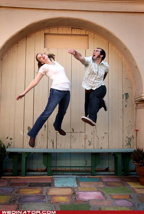 engagement photos,funny wedding photos,jump,punch