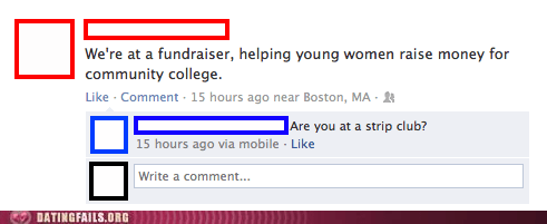 community college,raise money,strip club,zing