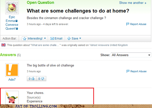 challenges chores home parenting Yahoo Answer Fai Yahoo Answer Fails