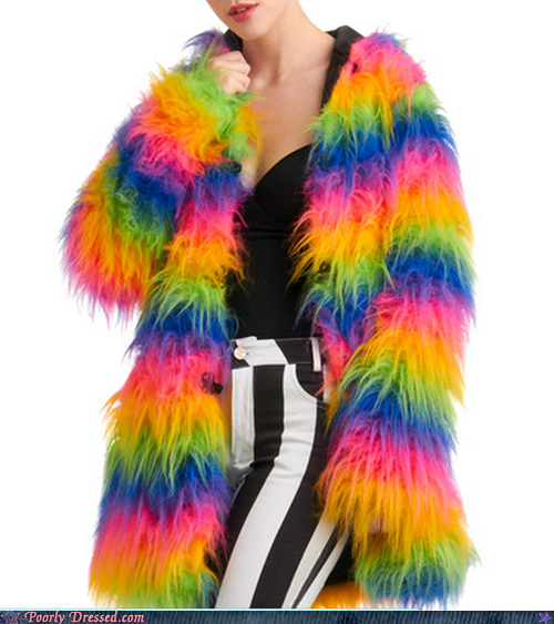 fur,jacket,muppet,pretty colors,rainbow