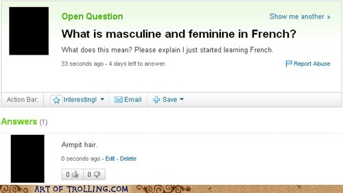 armpit hair feminine french masculine Yahoo Answer Fai Yahoo Answer Fails - 6476239360