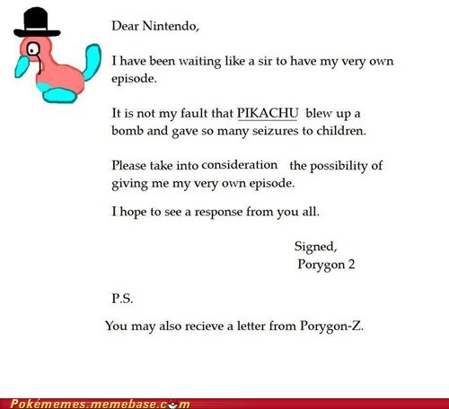letter Memes nintendo pikachu porygon 2 Sad seizure - 6476440320