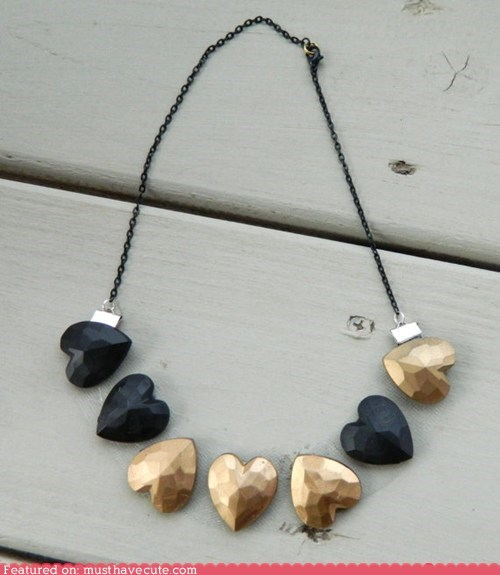 black gold hearts Jewelry necklace - 6476727808