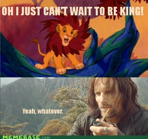 aragorn lion king Lord of the Rings Memes - 6477107712