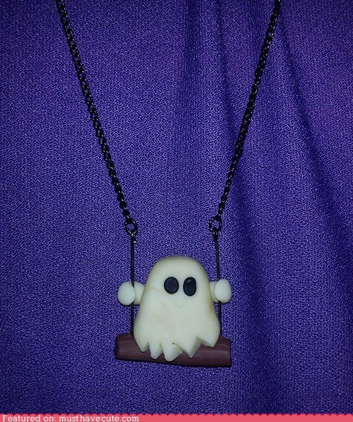 chain ghost necklace pendant swing