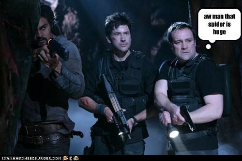 david hewlett,huge,Jason Momoa,joe flanigan,john sheppard,rodney mckay,ronon dex,scared,spider,Stargate,stargate atlantis
