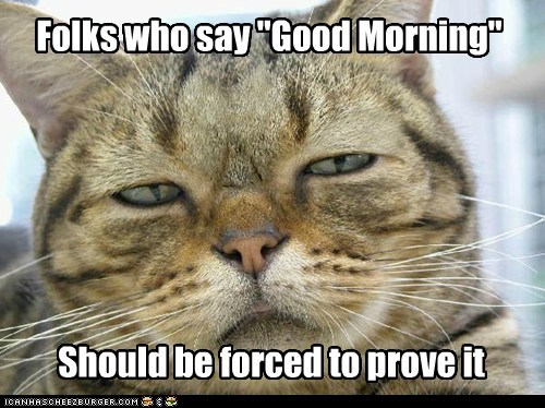 "Folks who say ""Good Morning"" Should be forced to prove it"
