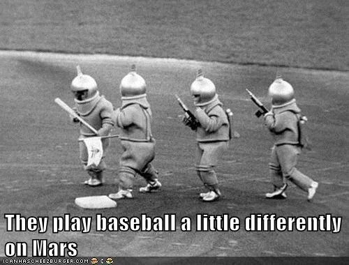 Aliens base baseball Mars space suits