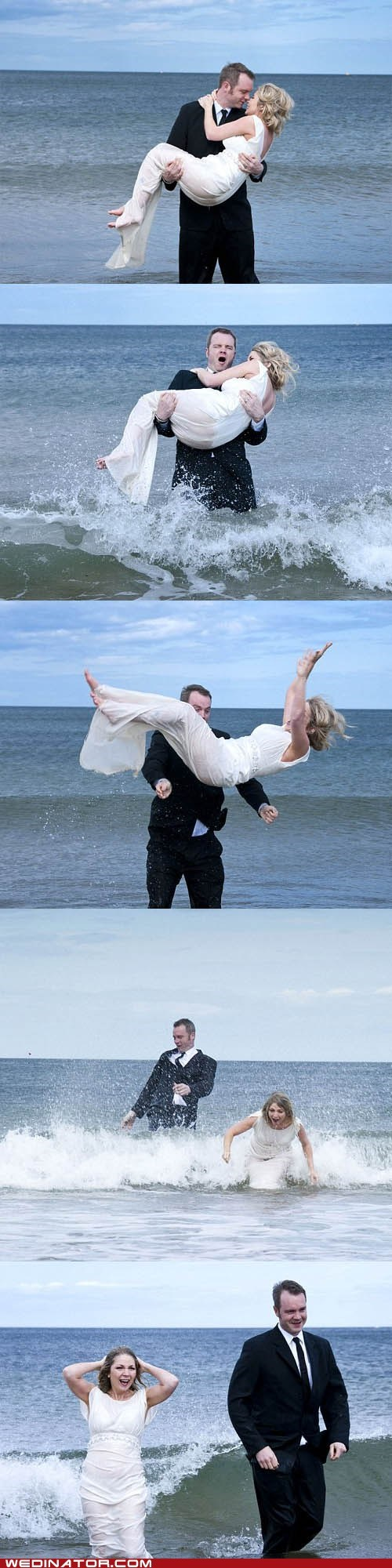 bride,drop,funny wedding photos,groom,North Sea,ocean,underwater