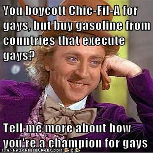 chick-fil-gay Hypocrisy level Memes Willy Wonka - 6478329344