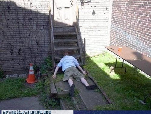 passed out,slipped,stairs