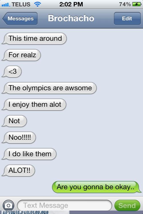 AutocoWrecks iphone olympics text text message texting - 6478436608