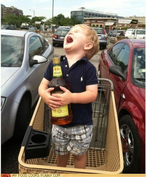 booze,kid,shopping cart,whiskey