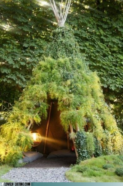 camping moss plants teepee tent - 6478643712