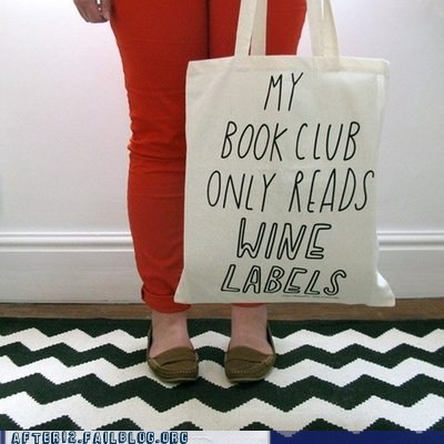book club call me maybe tote bag wine labels