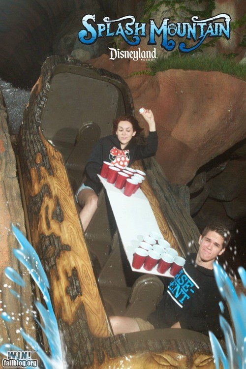 after 12 beer pong splash mountain theme park whee