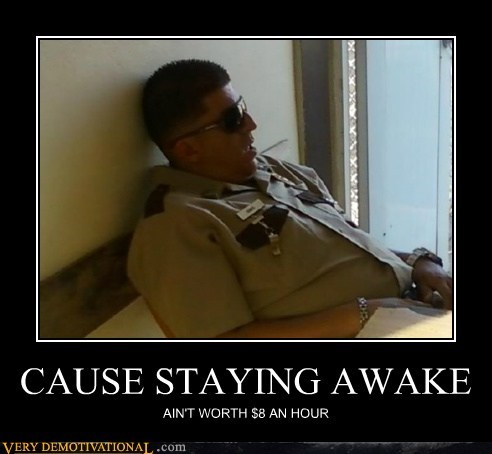 hilarious minimum wage security guard sleeping