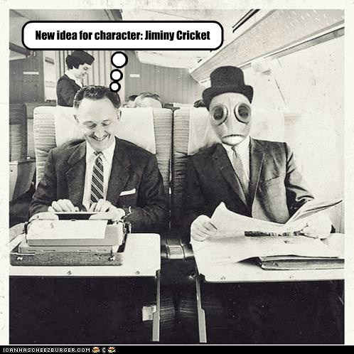 disney,jiminy crickey,mask,plane,robot,typewriter