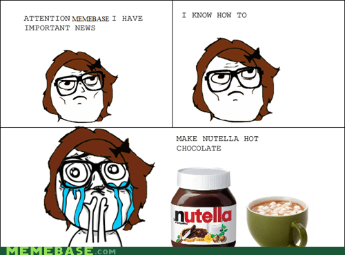 cuteness overload,hot chocolate,nutella,Rage Comics