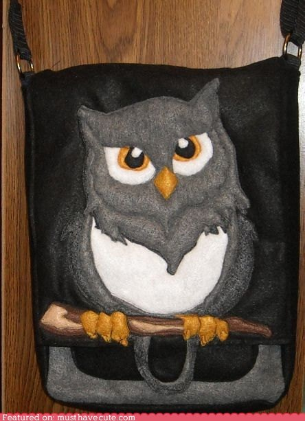 applique,bag,branch,felt,grey,Owl,purse