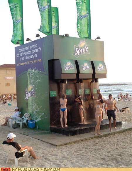 beach,dispenser,giant,gross,shower,soda,sprite