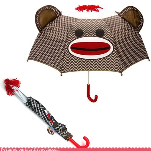 face,sock monkey,umbrella