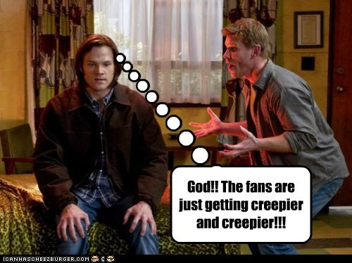 annoyed creeped out creepy fanfic fans Jared Padalecki lucifer mark pellegrino sam winchester Supernatural - 6480118784