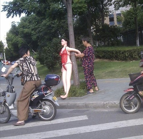 only in china,sex doll,traffic controller