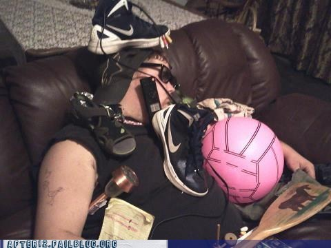 paddle,passed out,shoes,volleyball,workout gear