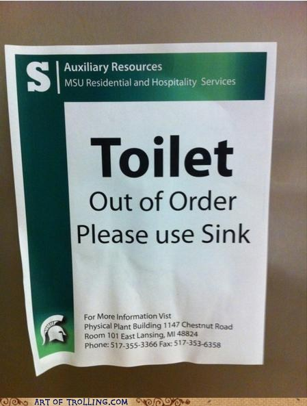 IRL out of order sign sink toilet - 6481247232
