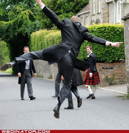 funny wedding photos,groom,Groomsmen,jump,kilt