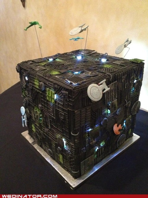 borg funny wedding photos geek Star Trek wedding cake - 6481719552