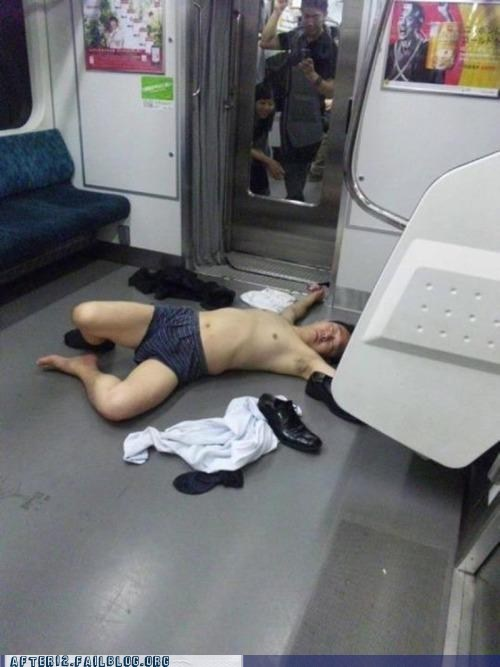 boxers,passed out,Subway,underwear