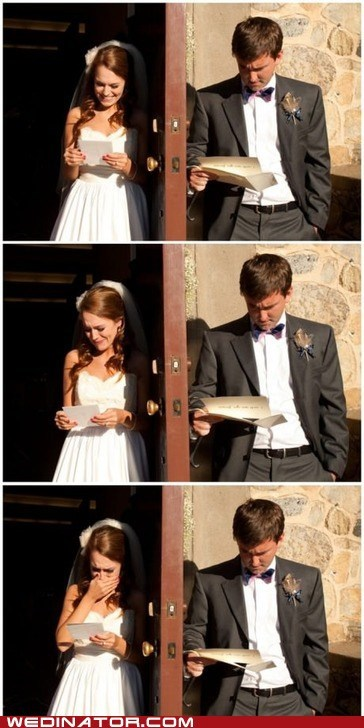 bride,funny wedding photos,groom,letter,men,read,vows,women