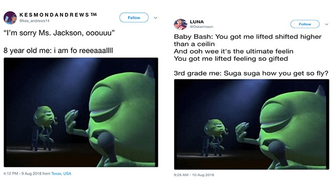 Mike Wazowski meme and recalling lyrics
