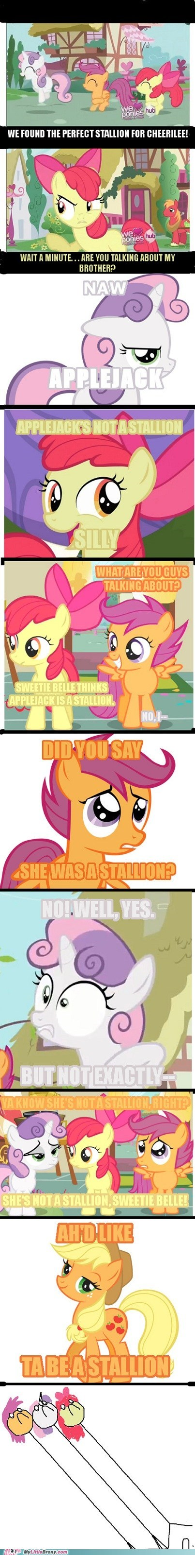 applejack,comic,comics,cutie mark crusaders,stallion