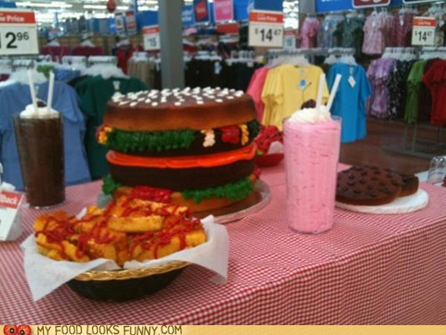 burger,cake,dessert,fries,frosting