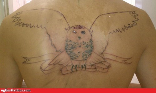 back tattoos,Owl