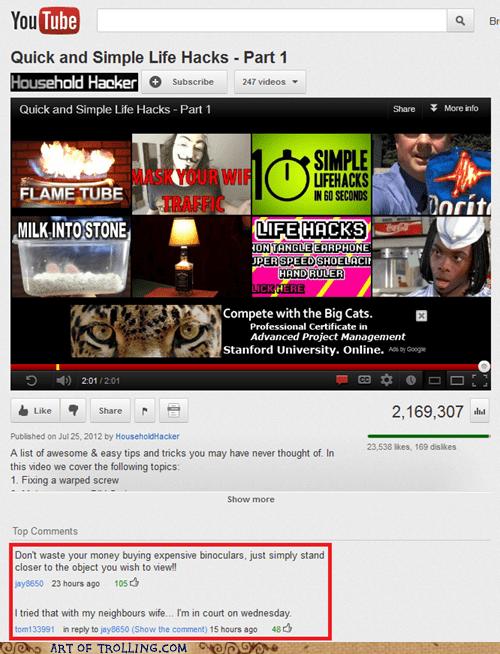 binoculars creepy Life Hack youtube - 6483421952